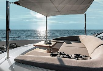 sanlornezo's new charter yacht 2020 with a luxurious sunpad on the upper deck that overlooks the meidterranean