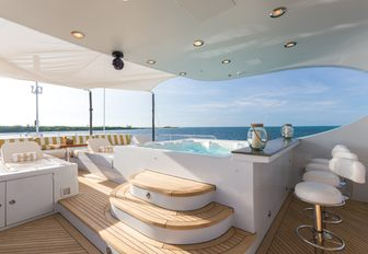 the aft deck jacuzzi on charter yacht Amarula Sun where her guests can unwind in peace and take part in some self care during their self isolating luxury yacht charter vacation in croatia