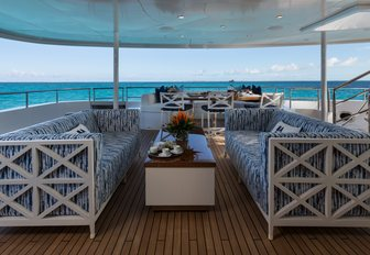 Comfortable covered seating area on Superyacht BACA