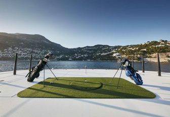 The golf tee and gear available on charter yacht SYMPHONY