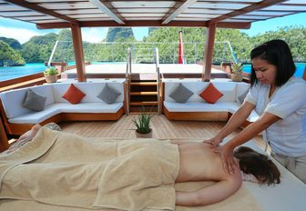 indulge in a massage in wellness centre aboard charter yacht LAMIMA
