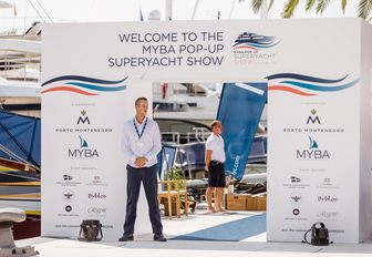 entrance to the MYBA Pop-Up Show with security
