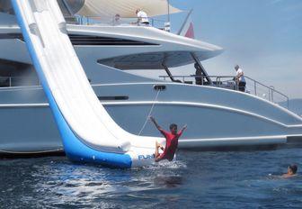 Cristiano Ronaldo goes down slide on superyacht Africa I