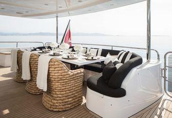 al fresco dining area on the main deck aft of motor yacht CRISTOBAL
