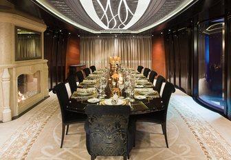 grand dining salon on board charter yacht KISMET