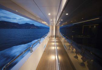 side balcony with innovative lighting on board charter yacht ARADOS