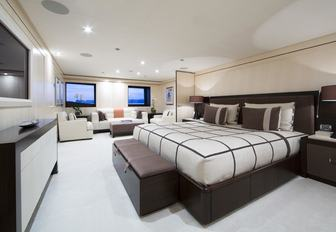 stylish master suite aboard motor yacht 4YOU