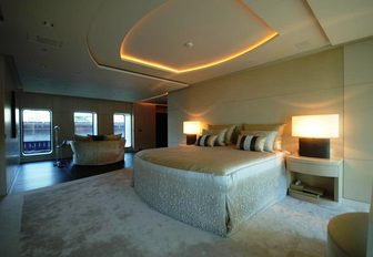 light and airy master suite with large bed on board charter yacht SIREN