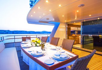 dining on board a luxury charter yacht