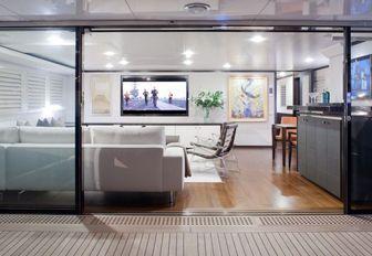 Skylounge on upper deck of Mirage Yacht