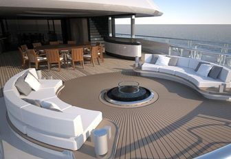 Superyacht Kismet features outdoor fire pit on deck