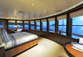 A guest cabin on board luxury yacht TV