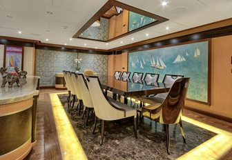 formal dining area in main salon of luxury yacht MEIRA