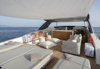 sun pads and seating on the flybridge of motor yacht Dinaia