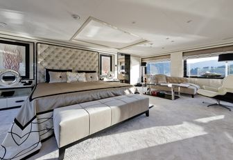 expansive master suite aboard luxury yacht LILI