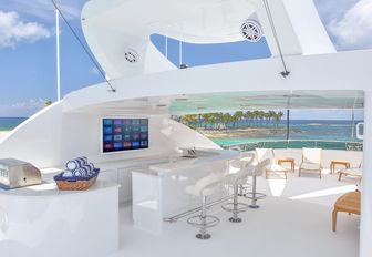 REBEL sun deck with TV and wet bar