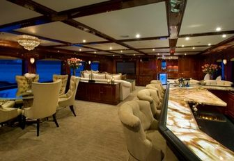 The classic furnishings inside superyacht Casino Royale
