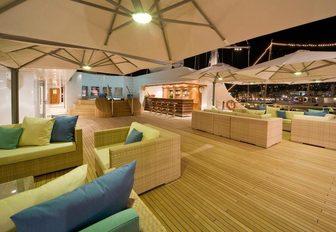 The sundeck on board luxury yacht Lauren L