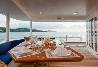 aft deck dining area on board charter yacht 'Northern Sun'