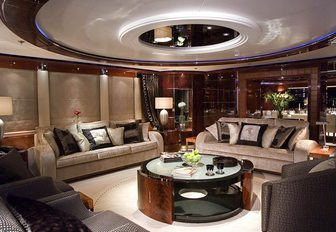 The contemporary furnishings featured in the main salon of superyacht 'Talisman Maiton'