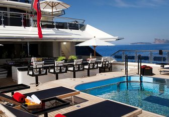 large bar, sun loungers and pool on the aft deck of motor yacht Alfa Nero