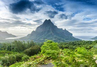 dramatic jungle-covered Mont Orohena in Tahiti, French Polynesia