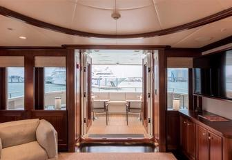 view of aft deck of charter yacht SAFIRA from her sapele main salon