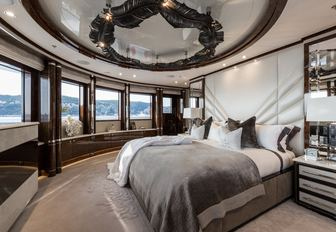 master suite with 180-degree views on board charter yacht 11/11