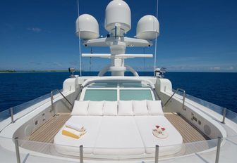 secluded sunning spot on foredeck of charter yacht SENSES