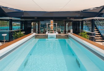 Infinity pool on the upper deck of Solandge Yacht