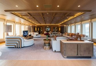 The main salon of luxury yacht Here Comes The Sun
