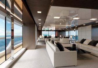 Main salon area on board luxury yacht SEVEN SINS