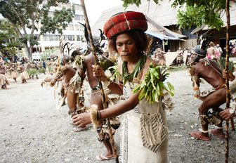 a traditional dancing group from Temotu province performs at the museum area in Honiara, Solomon Islands