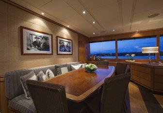 interior dining arrangement on motor yacht cappuccino
