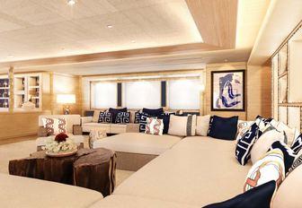 beautifully designed salon aboard charter yacht Cloud 9