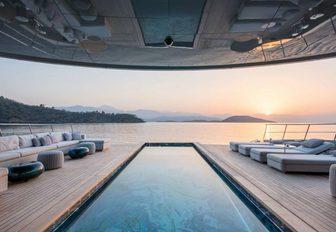 The swimming pool on board superyacht SAVANNAH