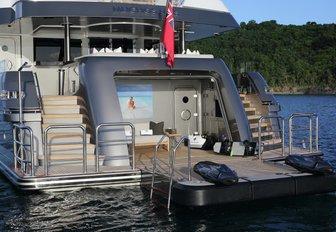 transom door drops down to form a beach club on board superyacht Muchos Mas