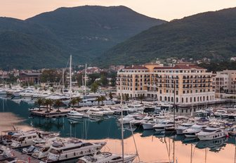 yachts lined up in the award-winning Porto Montenegro, Tivat