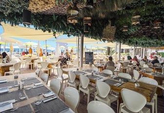 stylish restaurant at Ushuaïa Beach Club, Ibiza