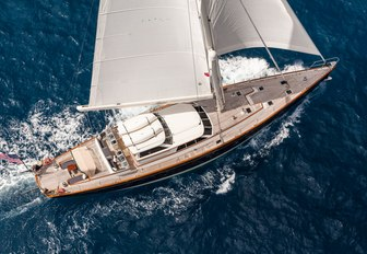 sailing yacht Marae cuts through water on a private charter vacation