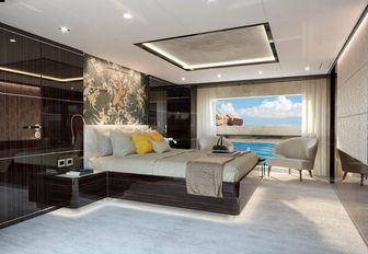 the master cabin inside charter yacht happy me with large window overlooking the Mediterranean