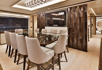 The interior dining section on board superyacht ONEWORLD