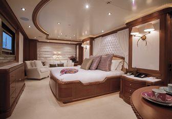idyllic master suite on board luxury yacht JO