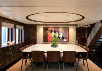 dining area in the main salon of superyacht SAFIRA