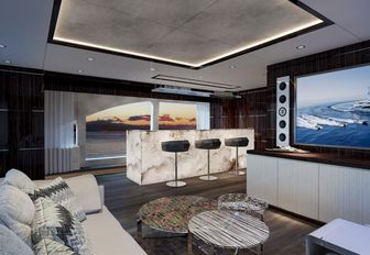 Skylounge with marble bar on Happy Me yacht
