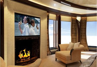Charter guests can enjoy open fires on Kismet Yacht