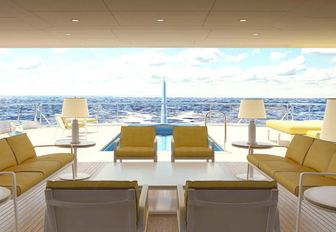 the breathtaking beach club on the lower deck aft of charter yacht aquarius that leads on to her spacious swim platform