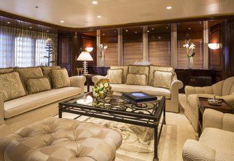 grand main salon with lavish lounge aboard motor yacht 'Blue Moon'
