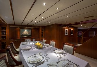 formal dining area on board charter yacht 'Northern Sun'