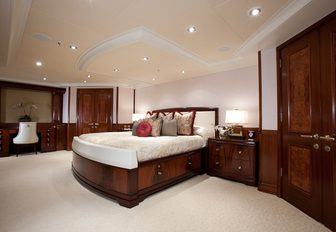 The master suite on the main deck of luxury yacht KATYA
